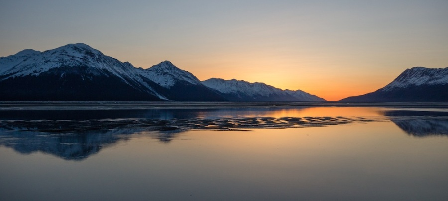 Turnagain Arm Sunset and Ice Floes