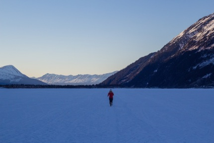 Running on Portage Lake in the winter.