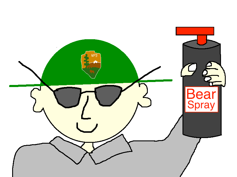 Park Ranger Cartoon with Bear Spray