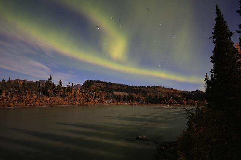 Aurora Borealis on Full Moon Night