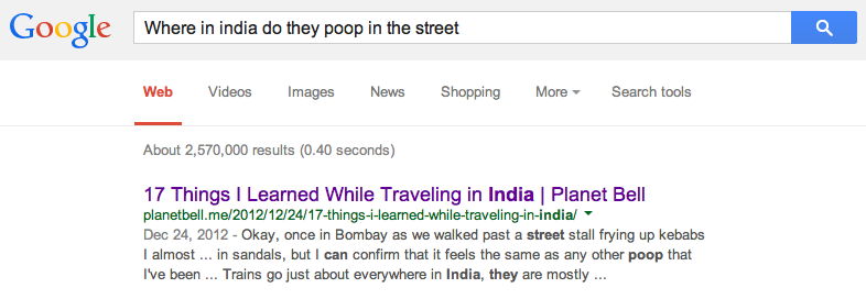 Poop in streets of India