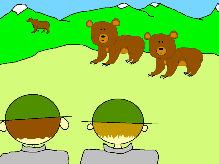Curious grizzly bear cartoon