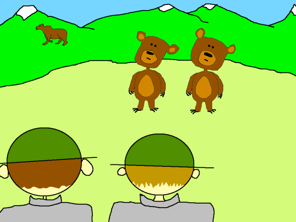 curious grizzly bear cub cartoon