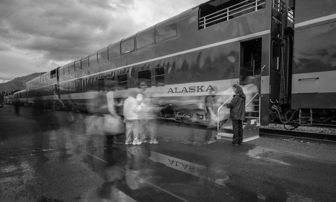 Black white Denali Train station