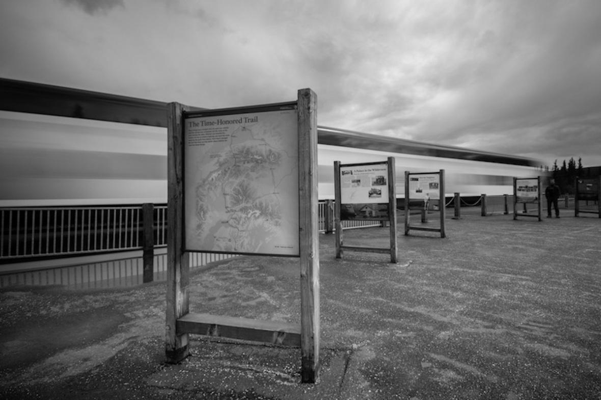 Alaska railroad black and white