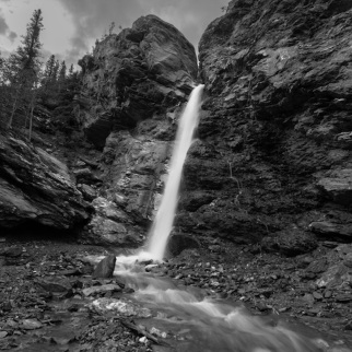 Upper dragonfly falls in black and white
