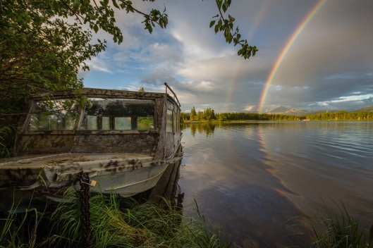 Rainbow and boat on Otto Lake