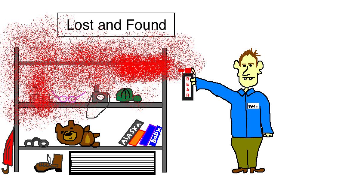 Bear Spray lost and found cartoon
