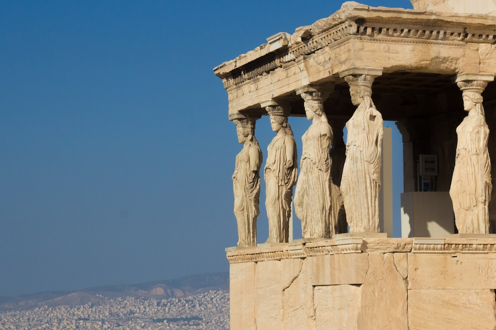 Athens statues on parthenon