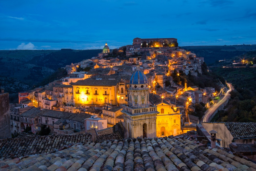 Ragusa Sicily at night
