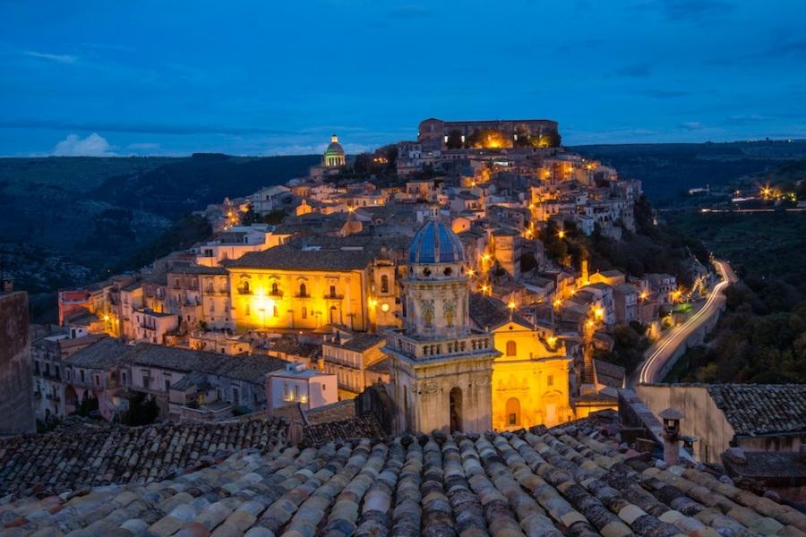 Ragusa Sicily at night