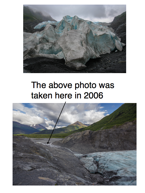 Exit Glacier melting before and after