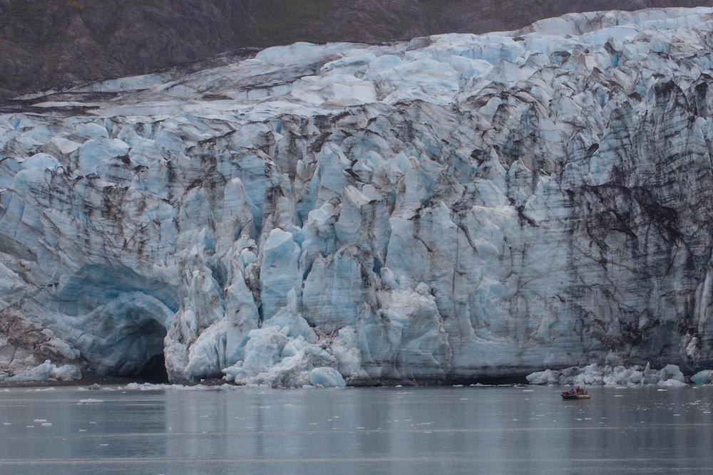 Lamplugh Glacier with boat Uncruise