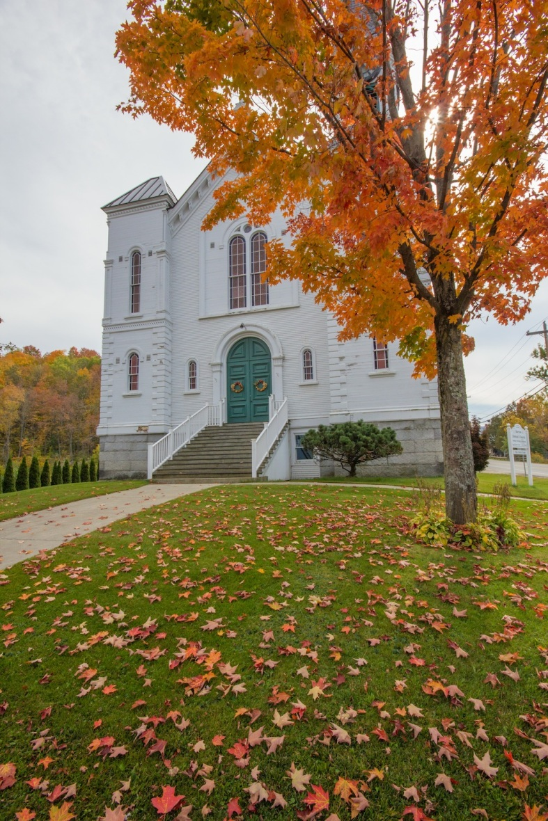 Church with fall leaves