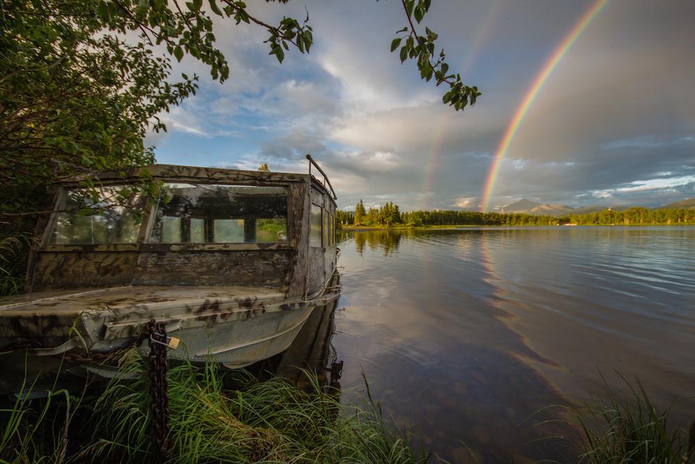 Rainbow and Fishing Boat at Otto Lake