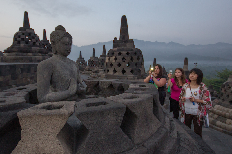 Borobudur covered with tourists
