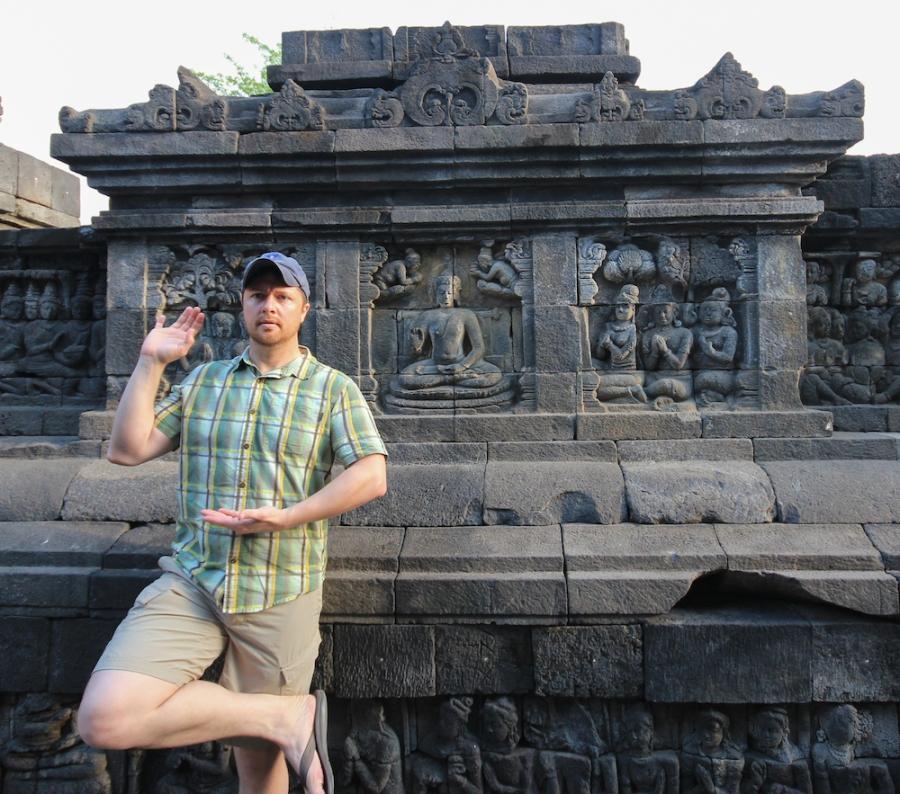 Posing like Buddha