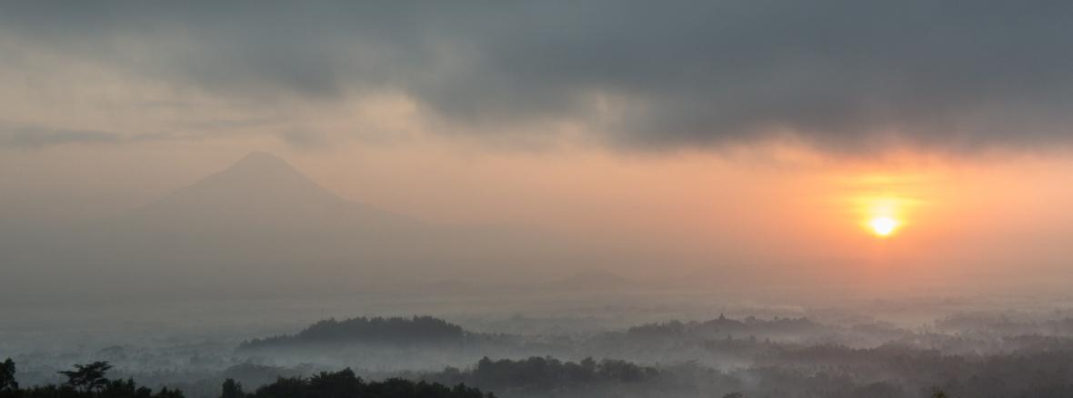 Borobudur, Merapi and Sunrise