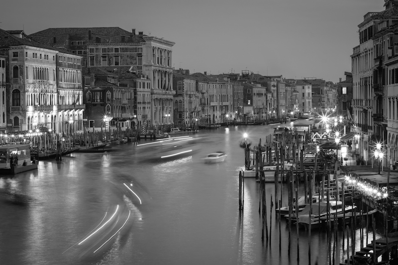 Venice from Rialto Bridge Black and White