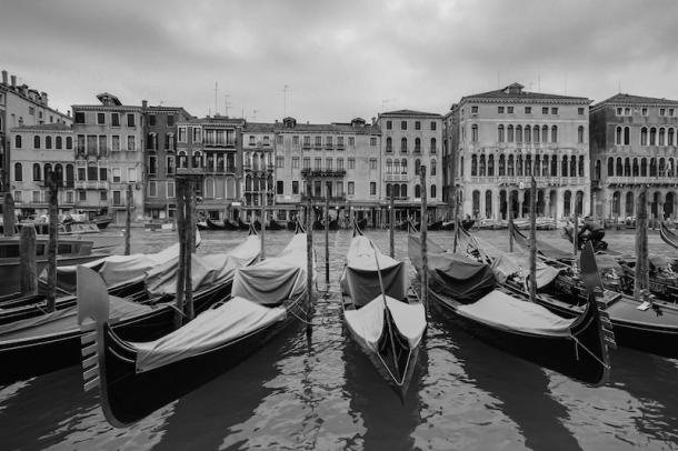 Venice canal black white