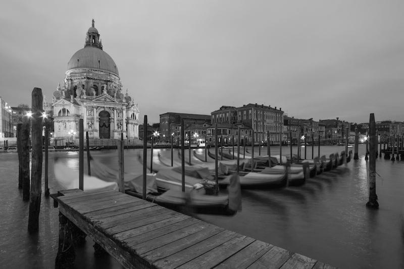 Venice Gondolas in Black and White