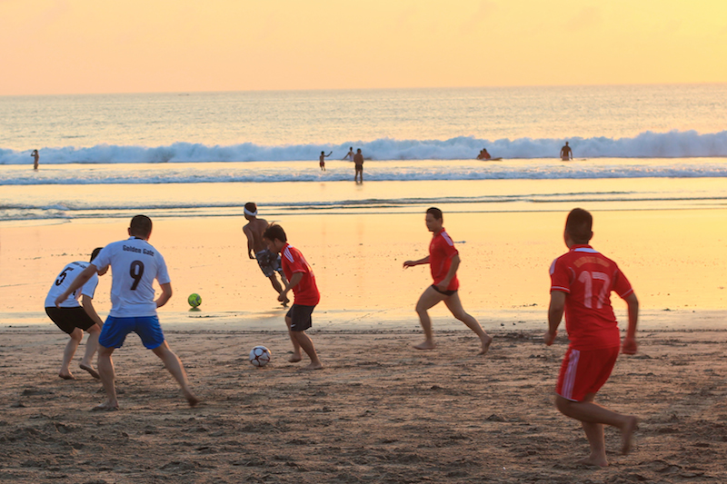 Football players on Kuta Beach