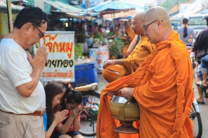 Praying to Monks on Loy Krathong
