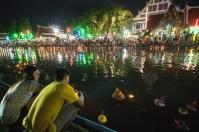 Loy Krathong at a canal in Bangkok