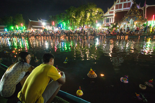 Loy Krathong at a canal in Bangkok
