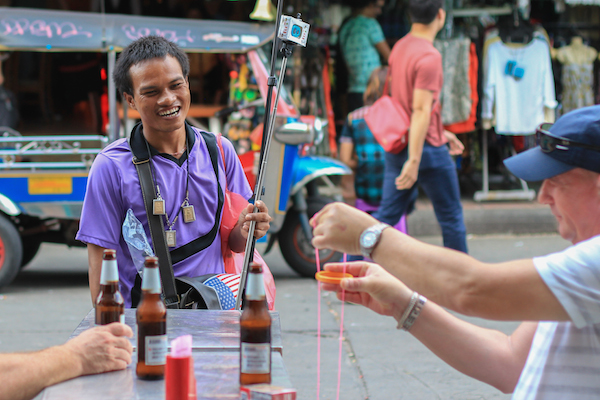 Tourist teaching magic Bangkok