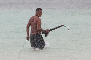 Pantai Bira Fisherman with anchor.