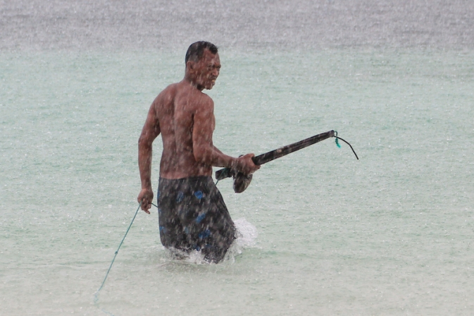 Pantai Bira Fisherman with anchor.