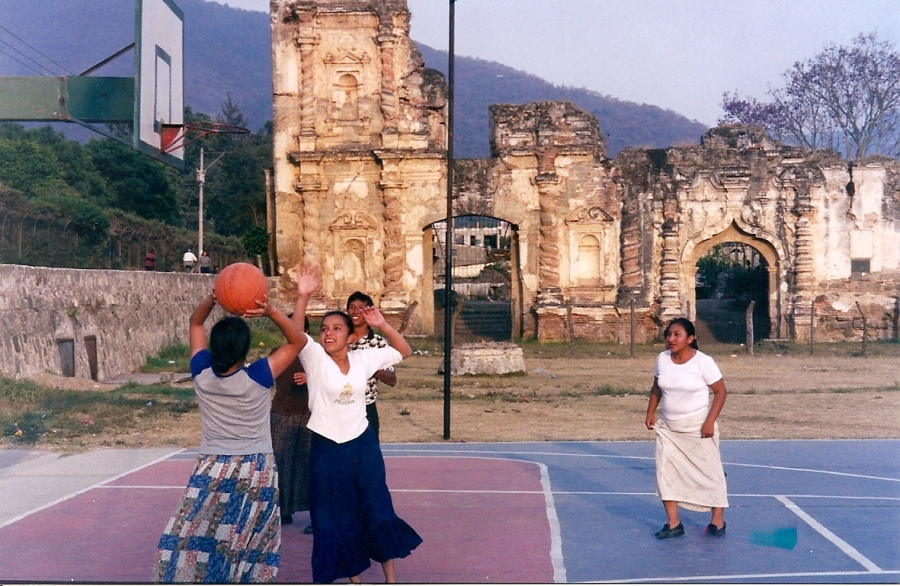 Women playing basketball in Guatemala