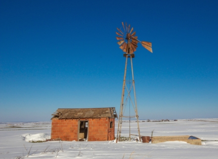 Windmill in winter near Thomas.