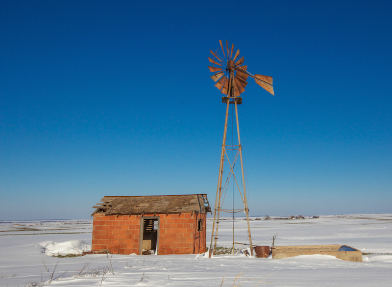 Windmill in winter near Thomas.