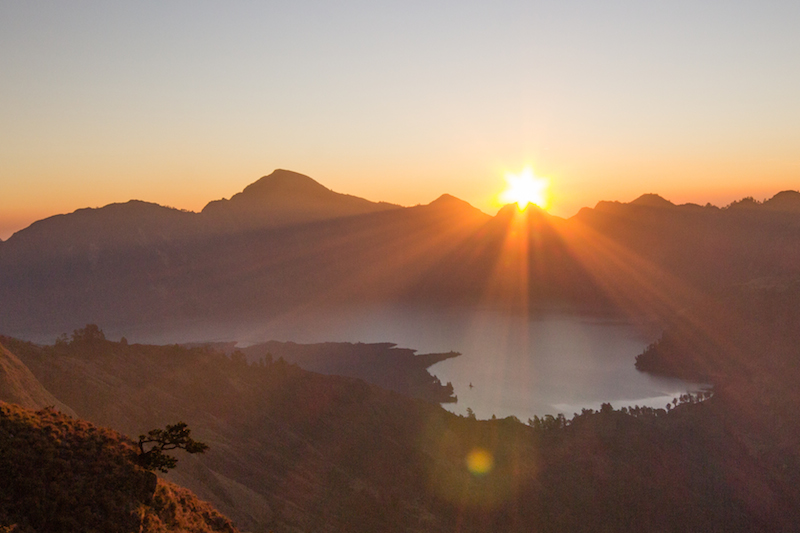 Sunset from camp on Mount Rinjani