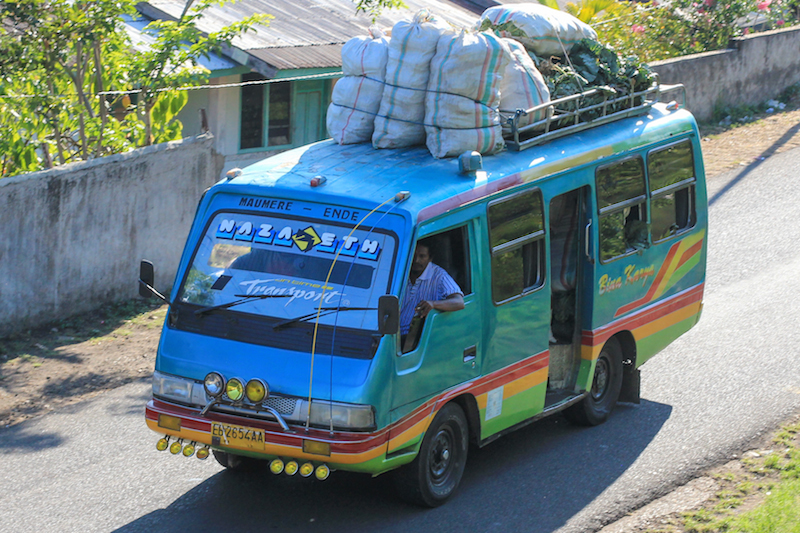 Mini bus on the trans-flores highway