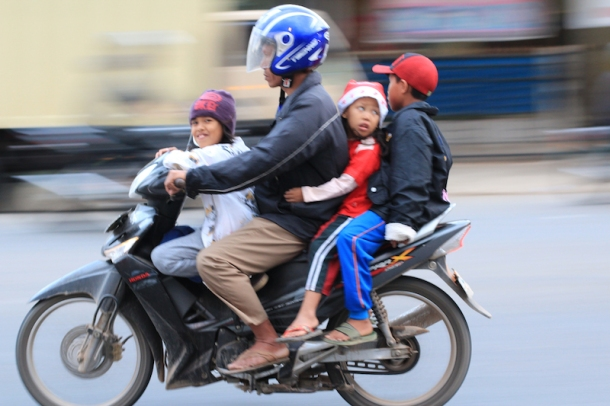 entire Family on motorbike