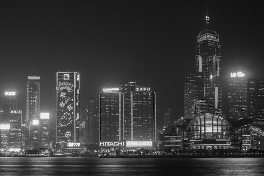 Hong Kong at night in black and white