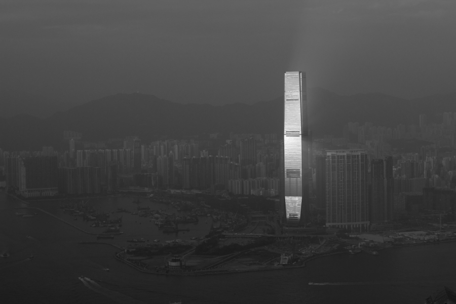 Hong International Commerce center in black and white