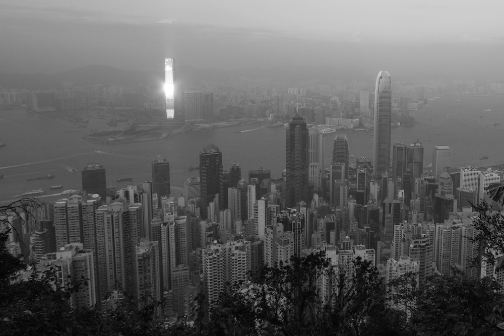 Kowloon from Victoria Peak in Black and White