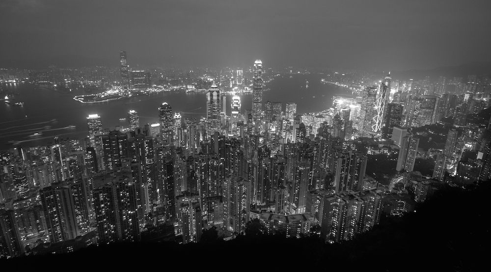 Hong Kong Victoria Peak Black White