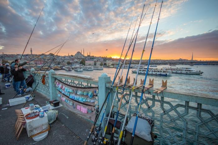 Istanbul sunset galata bridge