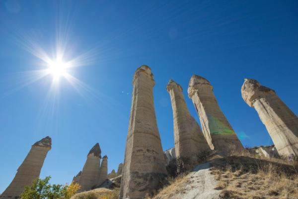 Cappadocia hoodoo and sun