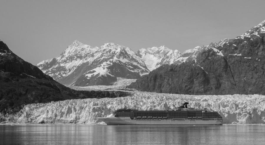Marjorie Glacier dwarfs a cruise ship.
