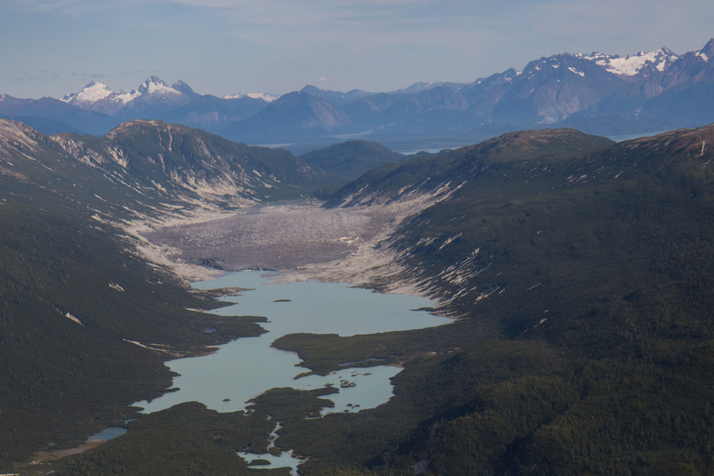 Burroughs Glacier and turquoise lake.