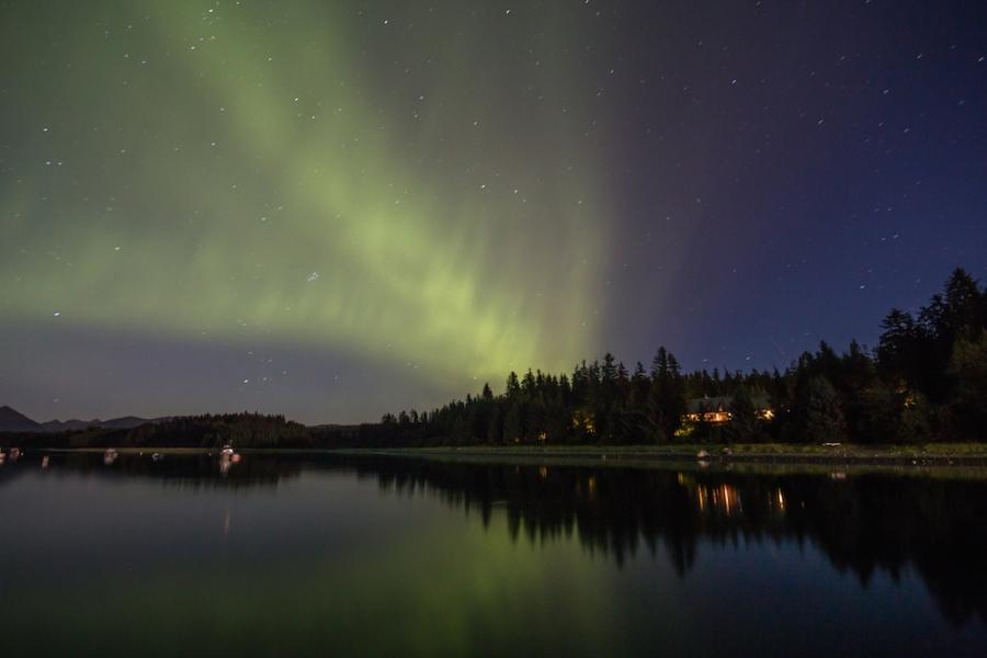 Northern Lights over the Glacier Bay Lodge