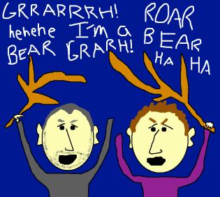 Bear Attacks Campsite Cartoon