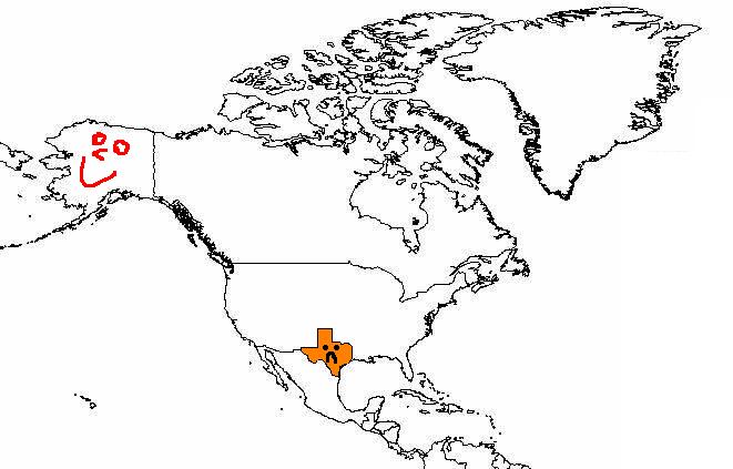 Alaska is bigger than Texas Map
