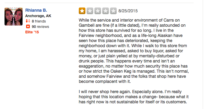 Ghetto Carrs Yelp Review